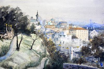 Belgrade Painting - Sunset Unique Watercolor Landscape By Nenad Kojic by Nenad Kojic