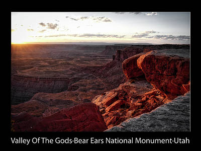 Photograph - Sunset Valley Of The Gods Utah 09 Text Black by Thomas Woolworth