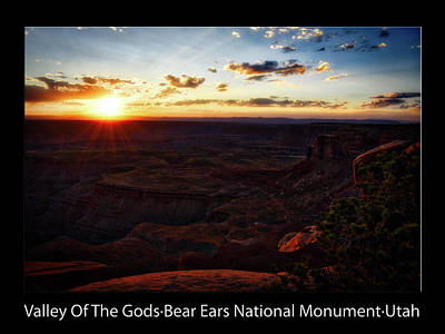 Photograph - Sunset Valley Of The Gods Utah 11 Text Black by Thomas Woolworth