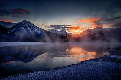 Photograph - Sunset, Vermilion Lakes by Peter OReilly