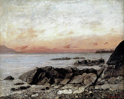 Courbet Painting - Sunset, Vevey, Switzerland by Gustave Courbet