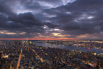 Photograph - Sunset View From The Empire State Buidling, New York City by Prithvi Mandava