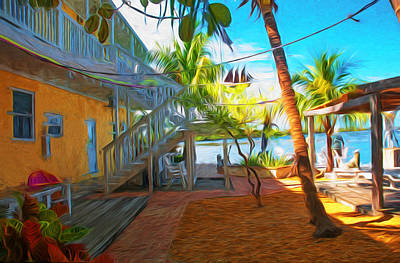 Sunset Villas Patio Art Print