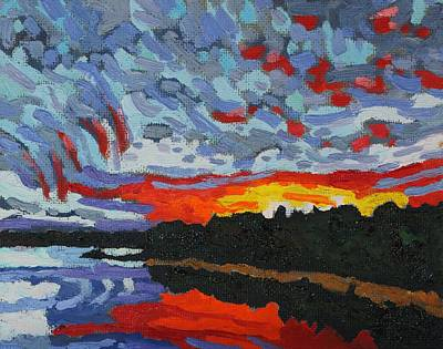 Painting - Sunset Virga Trails by Phil Chadwick