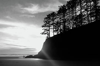 Photograph - Sunset Walk At Chapman Point Bw by Joseph Bowman
