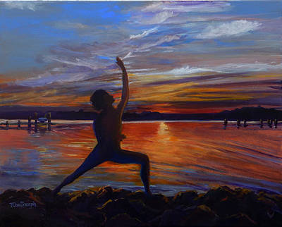 original yoga painting omwoman yoga meditate. Yoga Pose Painting - Sunset Warrior By Terry Cox Joseph Original Omwoman Meditate