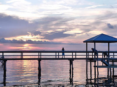 Photograph - Sunset Watchers On The Pier by Kathy K McClellan