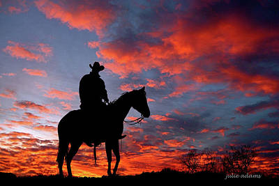 Working Cowboy Photograph - Sunset Watchman by Julie Adams