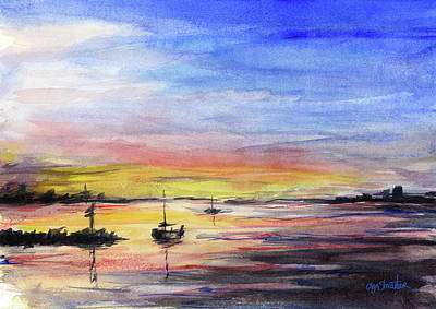 Colorful Boats Wall Art - Painting - Sunset Watercolor Downtown Kirkland by Olga Shvartsur