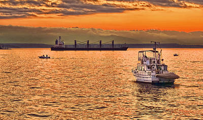 Photograph - Sunset Waters On Puget Sound Washington by Jennie Marie Schell
