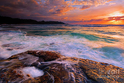 Photograph - Sunset Wave Curl by Mike Dawson