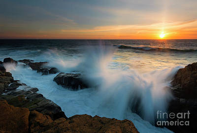 Photograph - Sunset Waves Crash by Mike Dawson