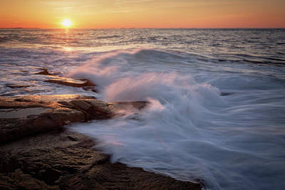 Photograph - Sunset Waves Rockport Ma. by Michael Hubley