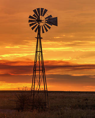 Sunset Windmill 01 Art Print
