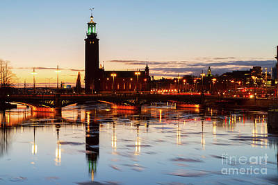 Sunset With Cityhall Of Stockholm Art Print