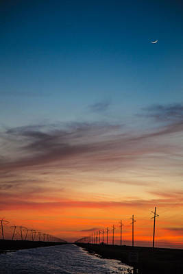 Photograph - Sunset With Moon Sliver by Dart and Suze Humeston