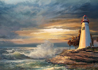 Sunset With Ohio Marble Head Lighthouse Art Print by Regina Femrite