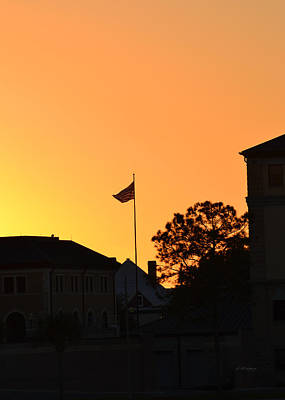 Photograph - Sunset With The Flag by rd Erickson