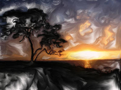Sunset With Tree Print by Mark Denham