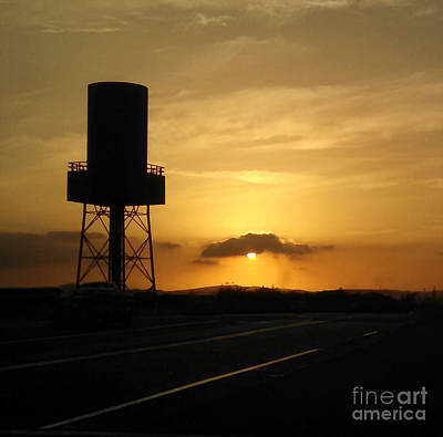 Photograph - Sunset With Water Tower by Gregory Dyer
