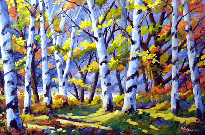 Click Galleries Painting - Sunshine And Birches by Richard T Pranke