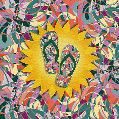 Flip Mixed Media - Sunshine And Colorful Abstract Flip-flops  by Gravityx9 Designs