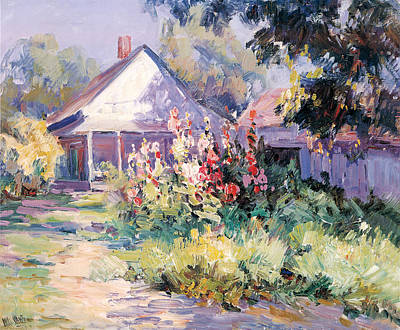 Photograph - Sunshine And Hollyhocks by William Vawter
