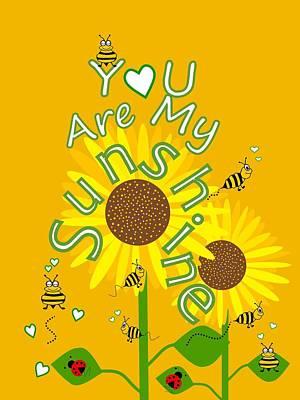 Digital Art - Sunshine And Sunflowers by Kathleen Sartoris