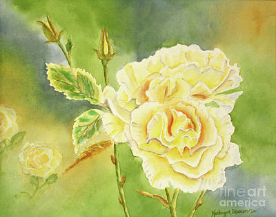 Sunshine And Yellow Roses Art Print by Kathryn Duncan