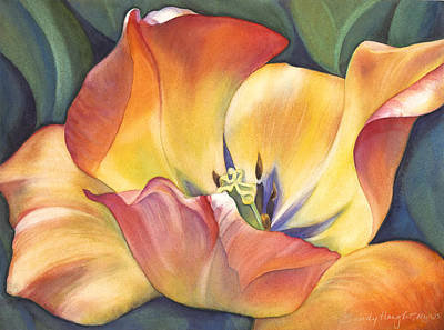 Tulips Watercolor Wall Art - Painting - Sunshine Dance by Sandy Haight