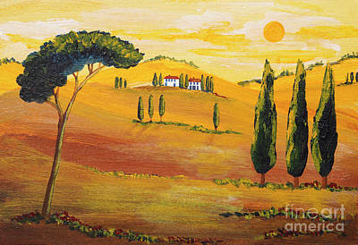 Tuscan Hills Painting - Sunshine In Tuscany In The Morning by Christine Huwer