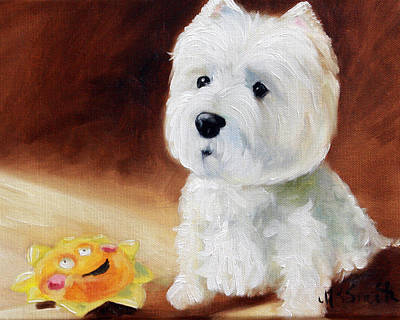 White Dog Painting - Sunshine by Mary Sparrow