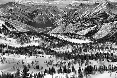 Photograph - Sunshine Meadows Winter Overlook Black And White by Adam Jewell