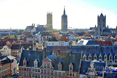 Photograph - Sunshine Over Ghent Rooftops by Carol Groenen