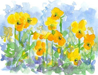 Painting - Sunshine Pansies by Cathie Richardson