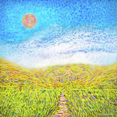 Art Print featuring the digital art Sunshine Path - Field In Marin California by Joel Bruce Wallach