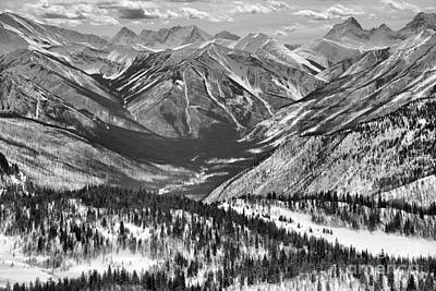 Photograph - Sunshine Ski Resort Mountain Views Black And White by Adam Jewell