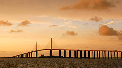 Photograph - Sunshine Skyway Bridge At Sunset by Daniel Woodrum