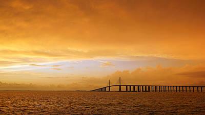 Photograph - Sunshine Skyway Bridge At Sunset Iv by Daniel Woodrum