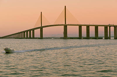 Water Vessels Photograph - Sunshine Skyway Bridge by Ixefra