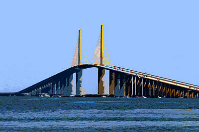 Sunshine Skyway Bridge Wall Art - Painting - Sunshine Skyway Summer by David Lee Thompson