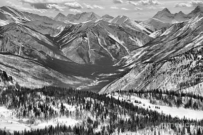 Photograph - Sunshine Valley Endless Snow Covered Peaks Black And White by Adam Jewell
