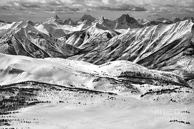 Photograph - Sunshine Village Lookout Mountain Views Black And White by Adam Jewell