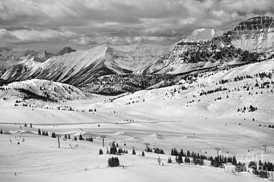 Photograph - Sunshine Village Resort Rocky Mountain Views Black And White by Adam Jewell