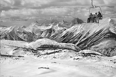 Photograph - Sunshine Village Scenic Chairlift Ride Black And White by Adam Jewell