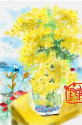 Digital Art - Sunshine Yellow Day  by Debbi Saccomanno Chan