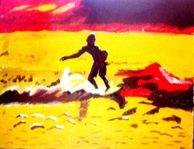 Sunsplashed Surf Art Print