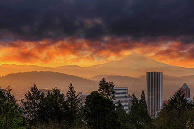 Sunsrise Over City Of Portland And Mount Hood Art Print by David Gn