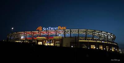 Baseball Royalty-Free and Rights-Managed Images - SunTrust Park Almost Ready Atlanta Braves Baseball Night Art by Reid Callaway
