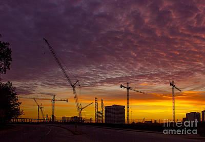 Photograph - Suntrust Park Sunrise Cranes Building The Future by Reid Callaway
